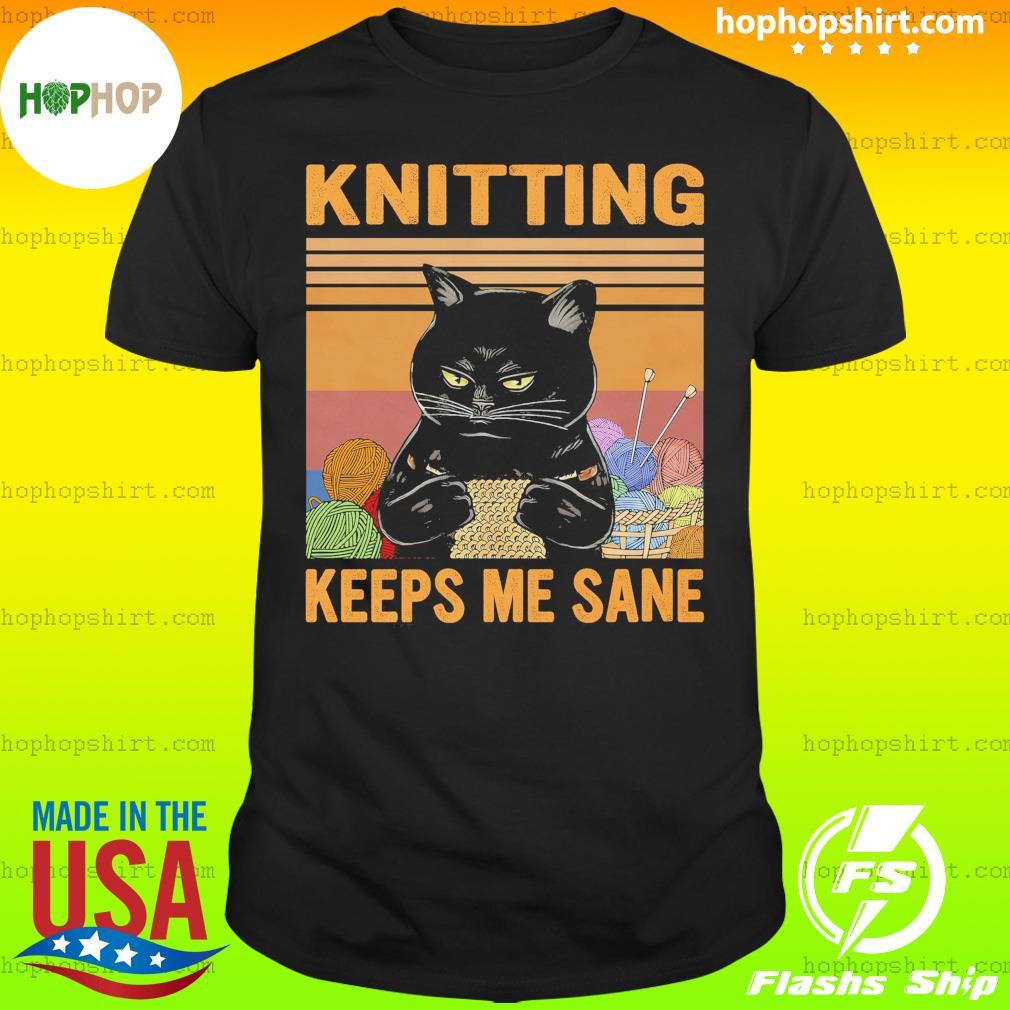 Black Cat Knitting Keeps Me Sane Vintage Retro Shirt