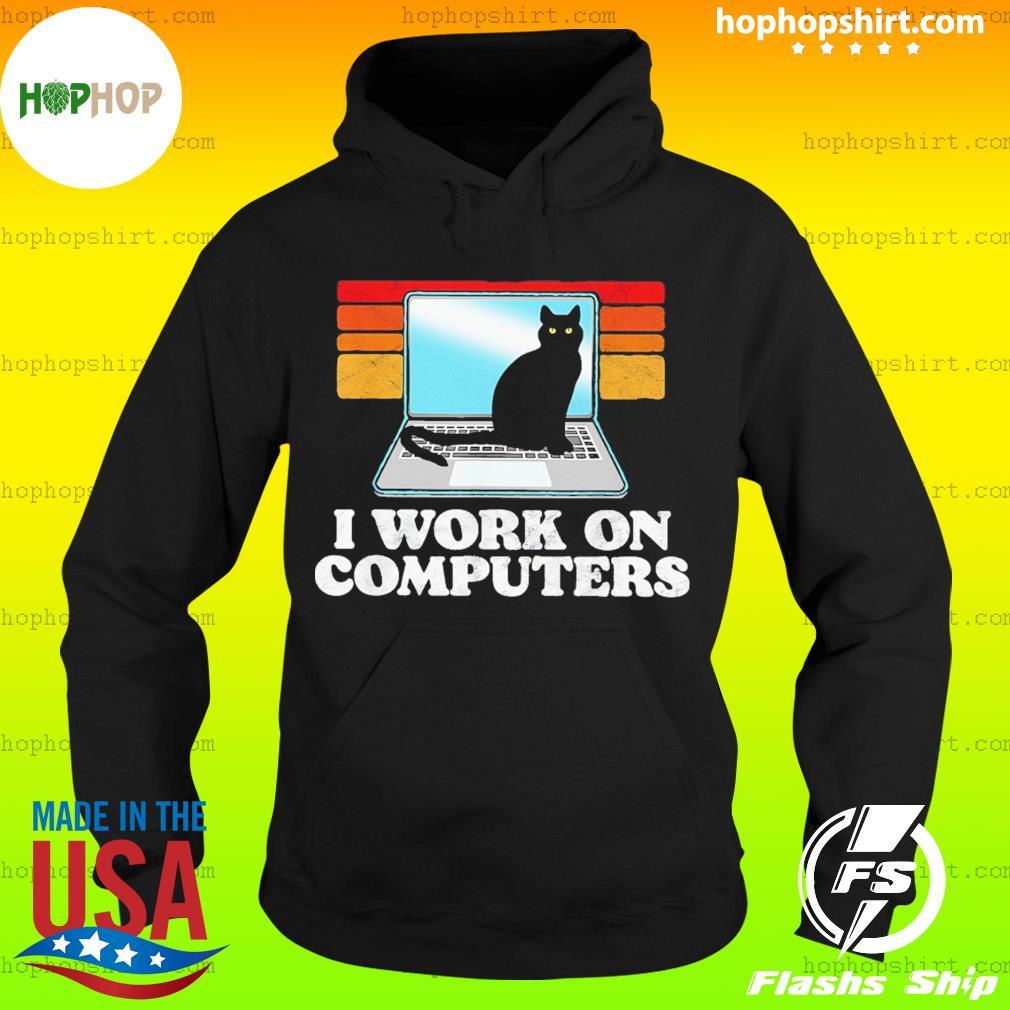 Black Cat I Work On Computers Vintage Retro Shirt Hoodie
