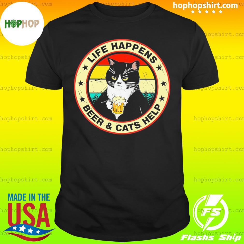 Black Cat Life happens Beer And Cats Help Vintage Shirt