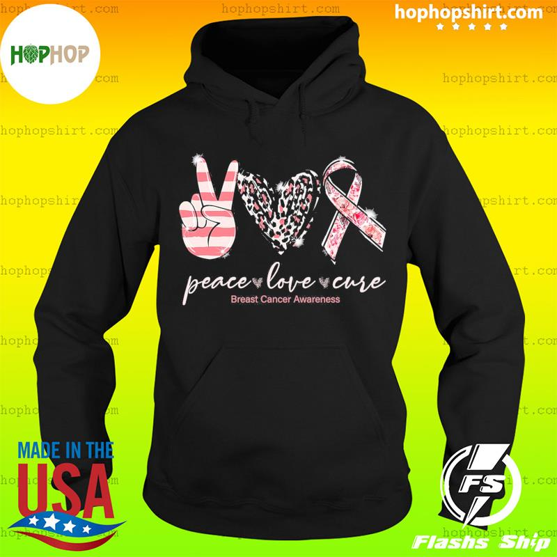 Official Peace Love Cure Breast Cancer Awareness Shirt Hoodie