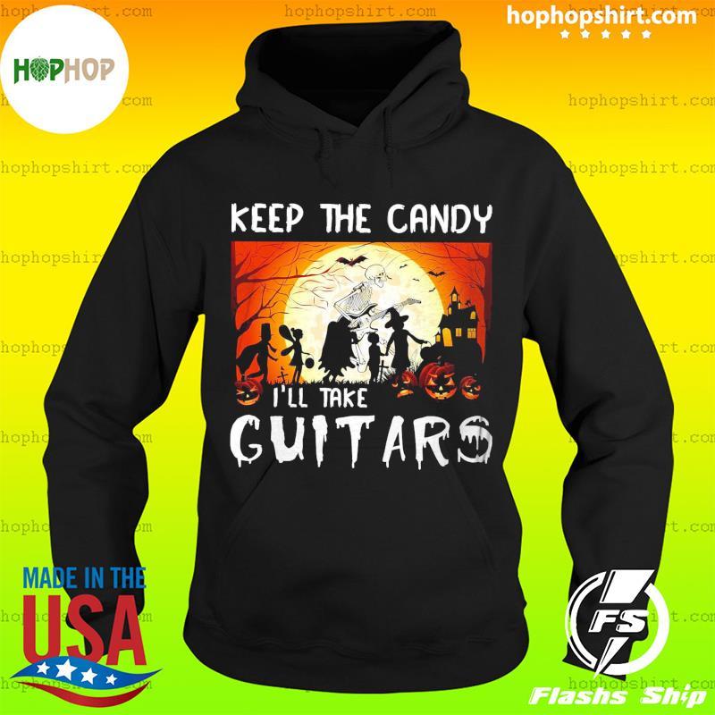 Zombie Playing Guitar Keep The Candy I'll Take Guitar Halloween Shirt Hoodie