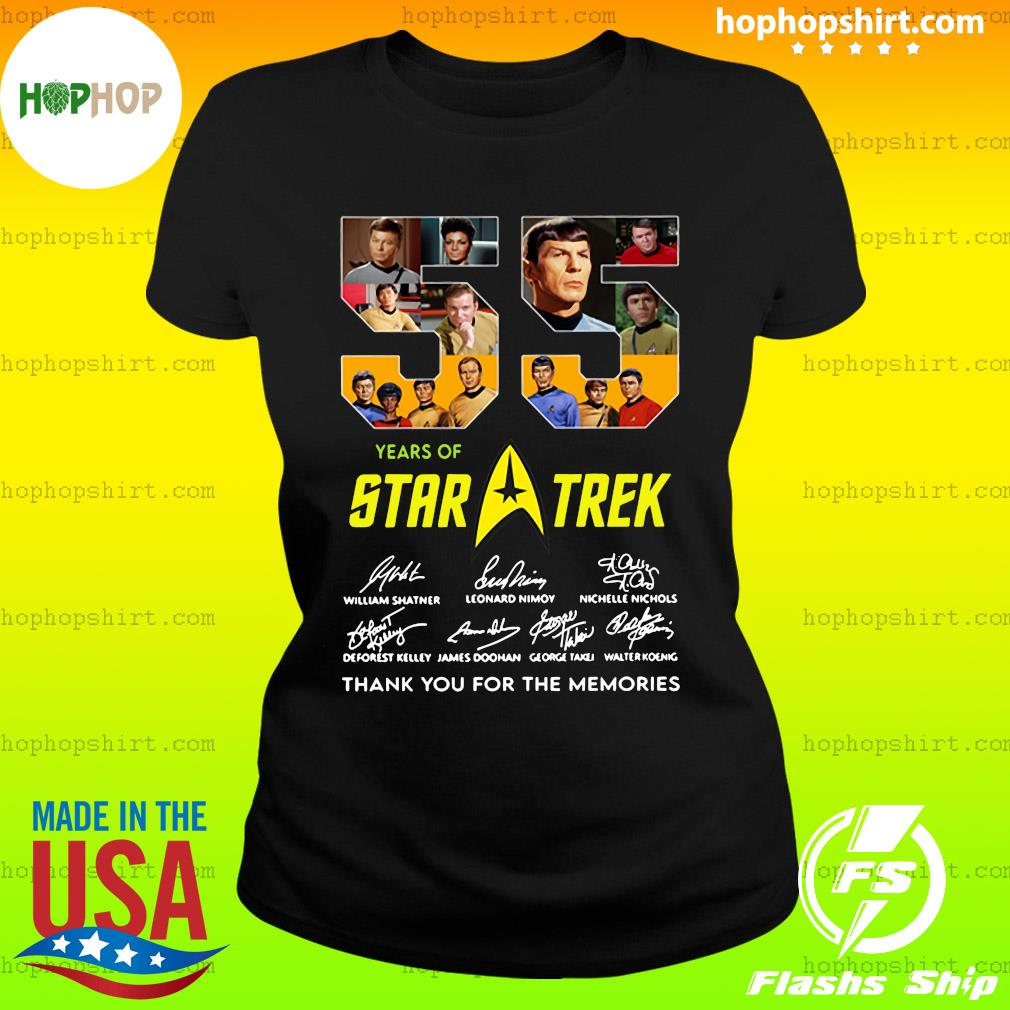 55 Years Of Star Trek Thank You For The Memories Signatures Shirt Ladies Tee