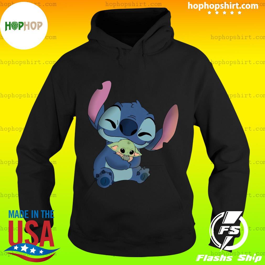 Baby Stitch Hug Baby Yoda Shirt Hoodie