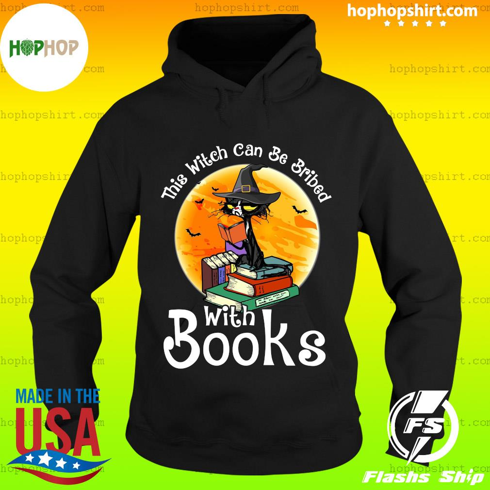 Black Cat This Witch Can Be Bribed With Books Moon Shirt Hoodie