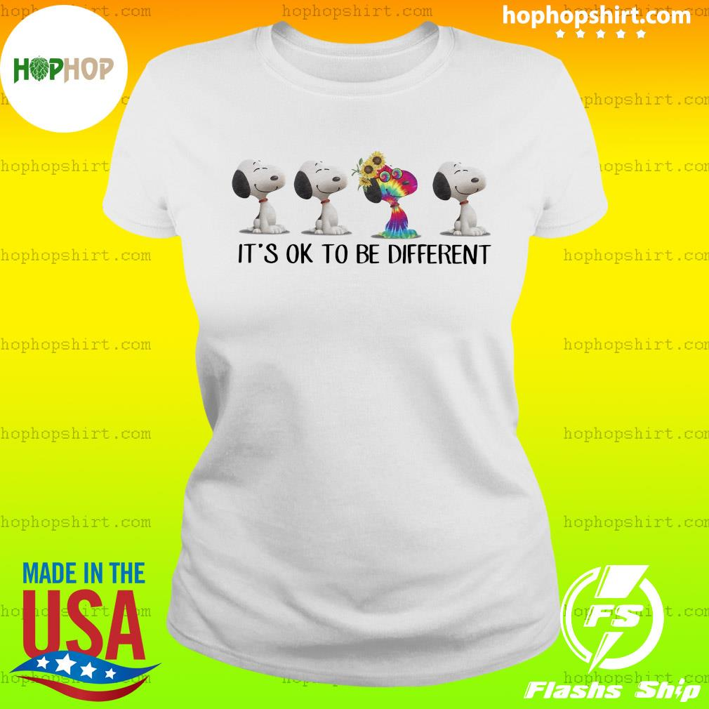 Hippie snoopy it's ok to be different sunflowers s Ladies Tee