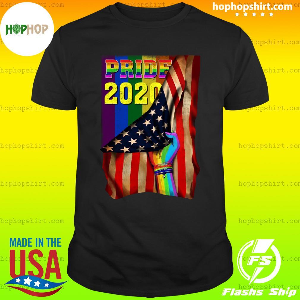 Pride 2020 LGBT American Flag Hand Custom Name Shirt