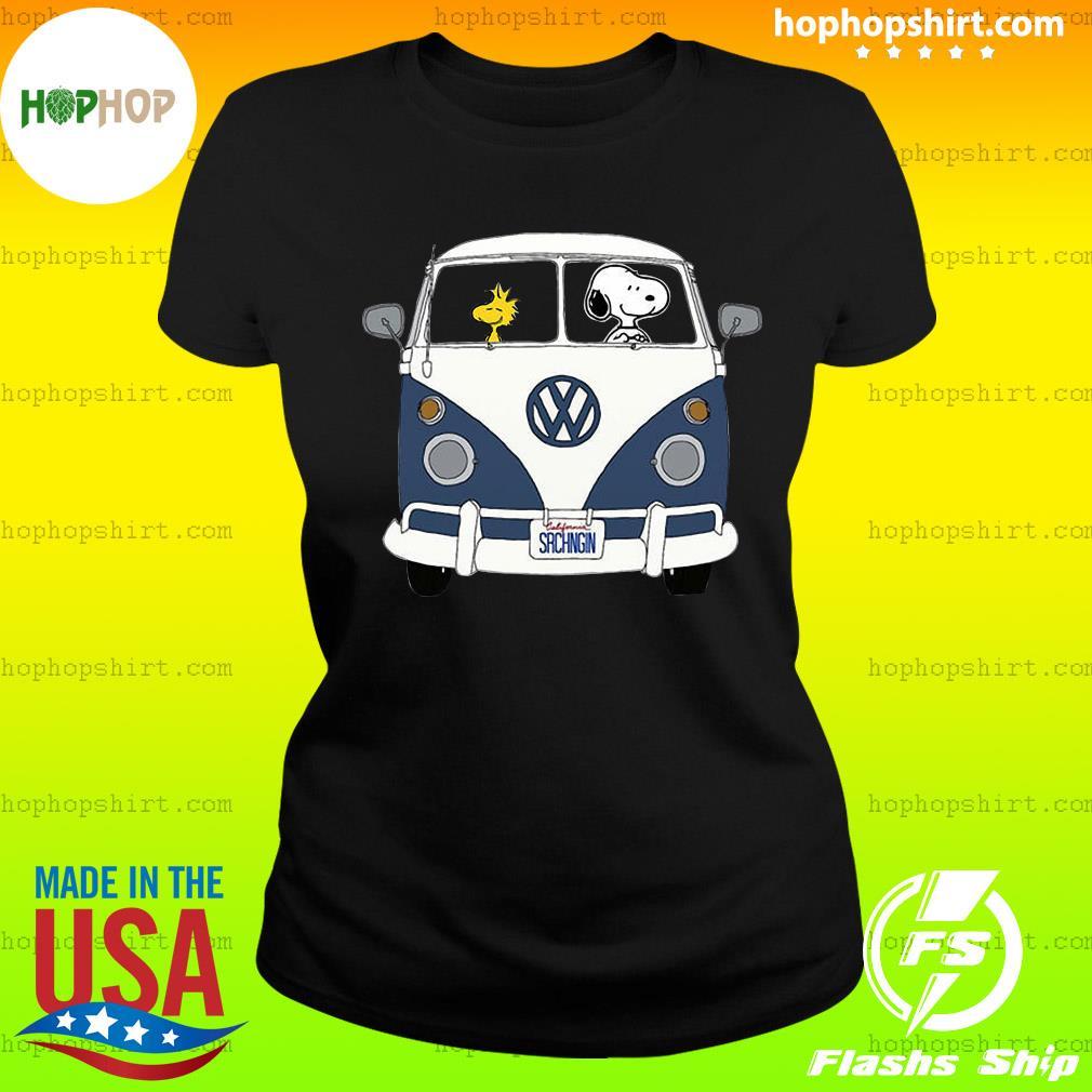 Snoopy Driving Hippie Car Volkswagen Beetle Shirt Ladies Tee