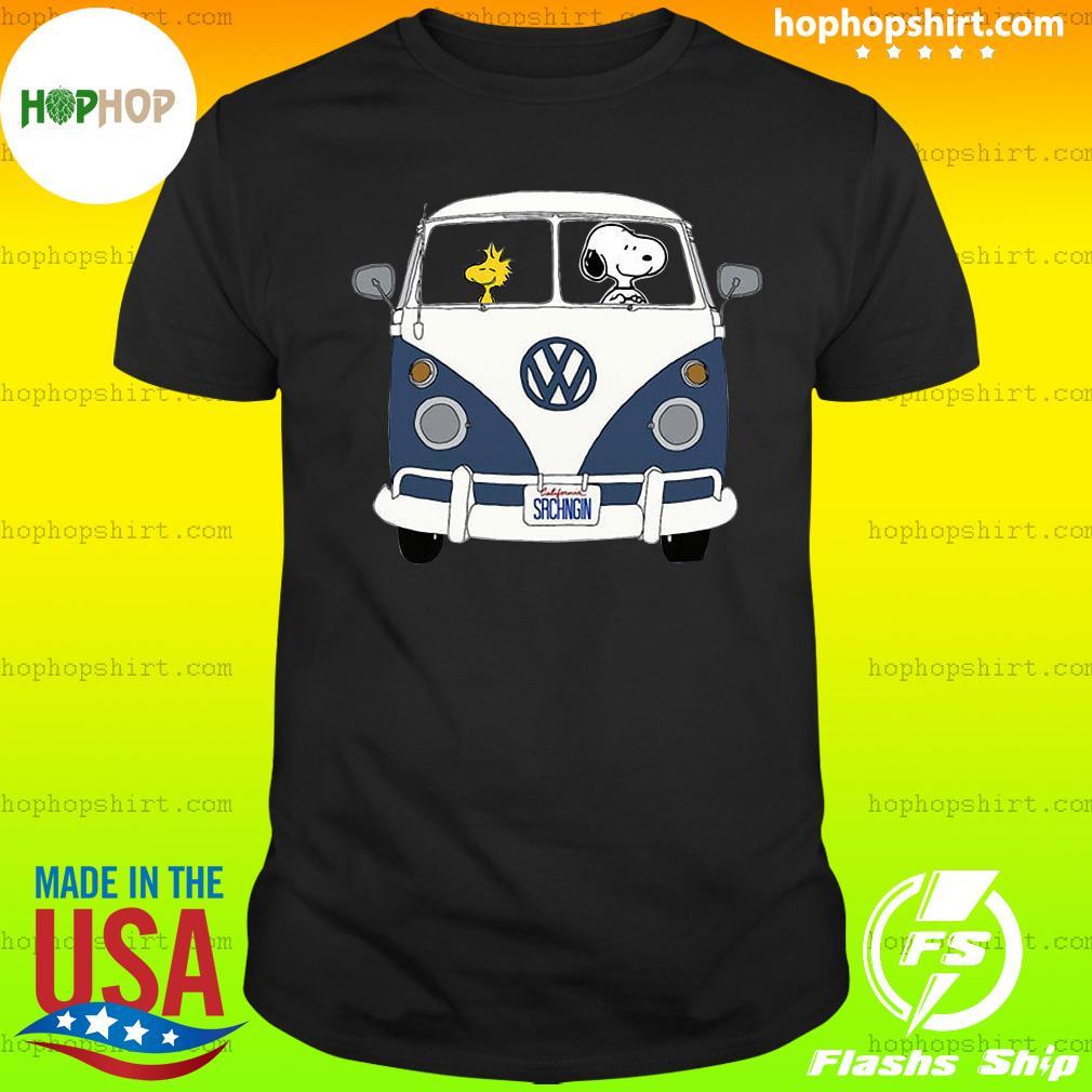 Snoopy Driving Hippie Car Volkswagen Beetle Shirt