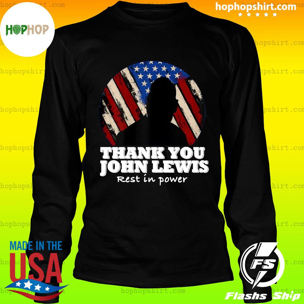 Distressed USA Flag Thank you John Lewis Rest in Power 2020 Shirt LongSleeve