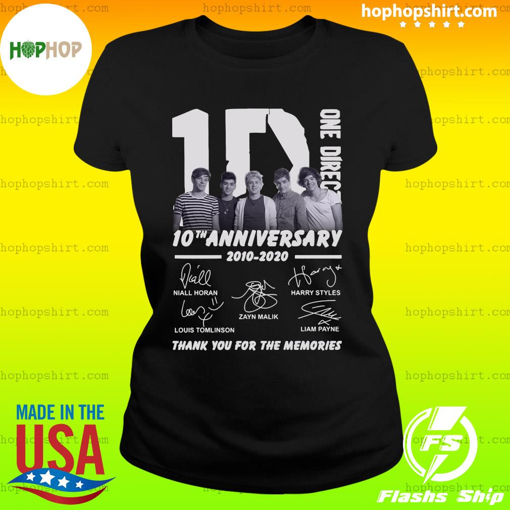 One Direction 10th Anniversary 2010 2020 Thank You For The Memories Signatures Shirt Ladies Tee