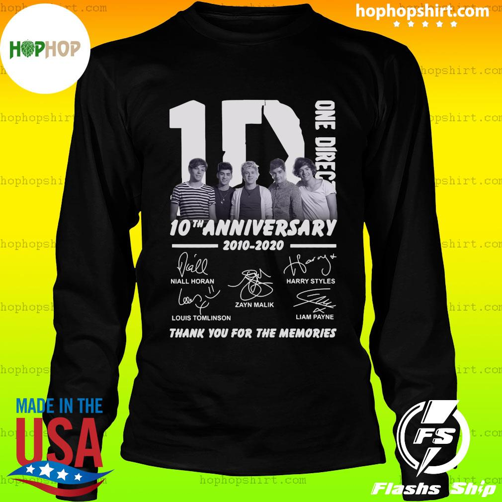 One Direction 10th Anniversary 2010 2020 Thank You For The Memories Signatures Shirt LongSleeve