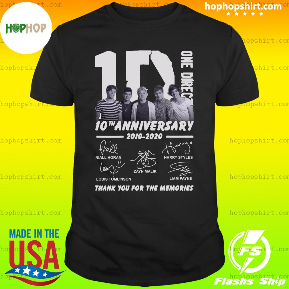 One Direction 10th Anniversary 2010 2020 Thank You For The Memories Signatures Shirt