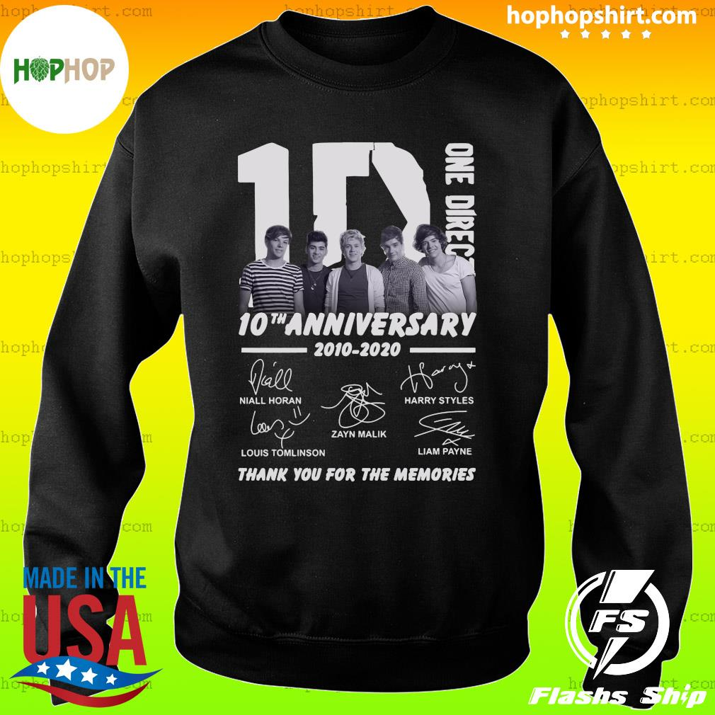 One Direction 10th Anniversary 2010 2020 Thank You For The Memories Signatures Shirt Sweater