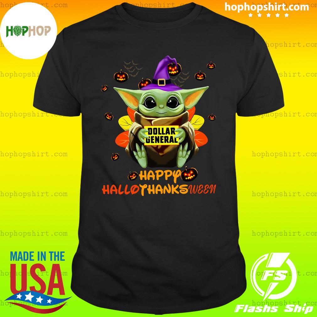 Baby Yoda Witch Hug Dollar General Happy Hallothanksween Shirt