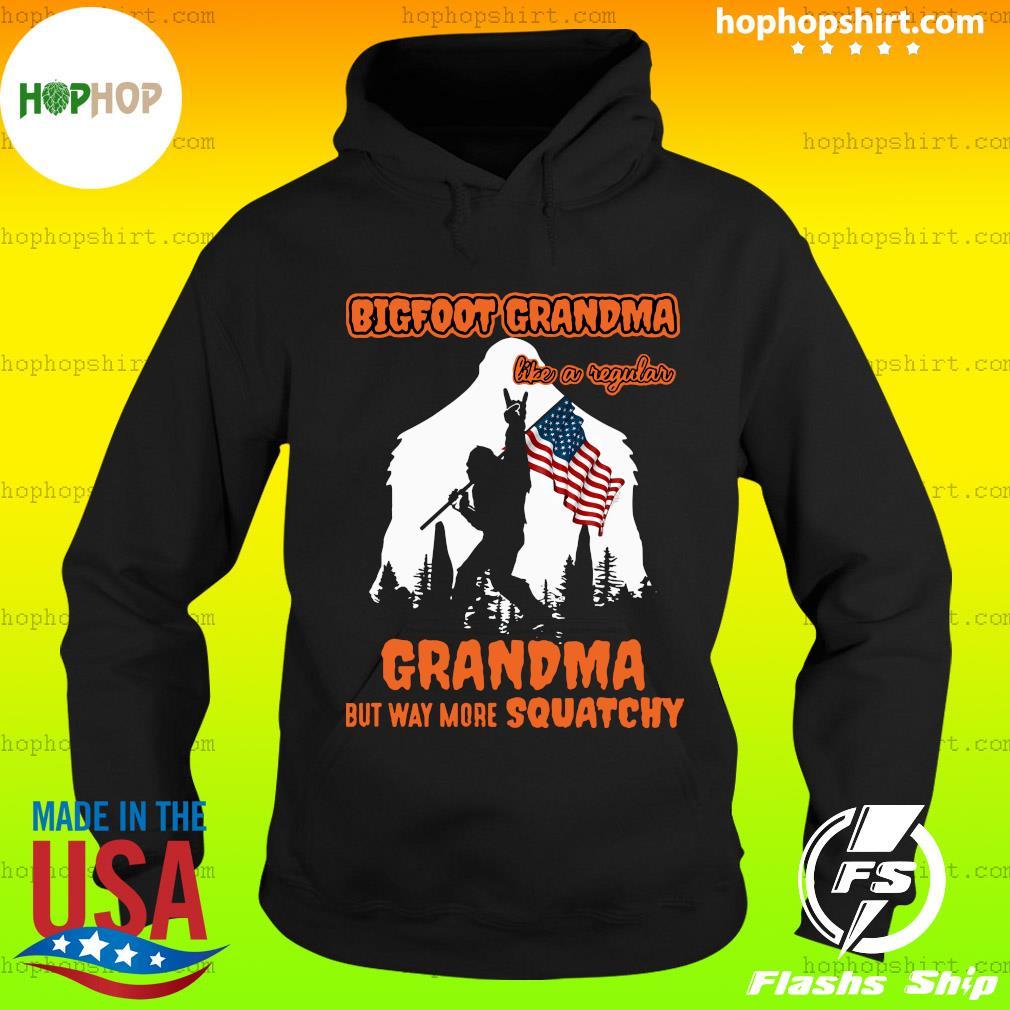 Bigfoot Rock And Roll Grandma Like A Regular Grandma But Way More Squatchy American Flag Shirt Hoodie