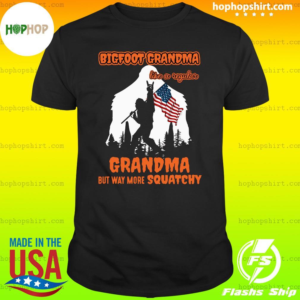 Bigfoot Rock And Roll Grandma Like A Regular Grandma But Way More Squatchy American Flag Shirt