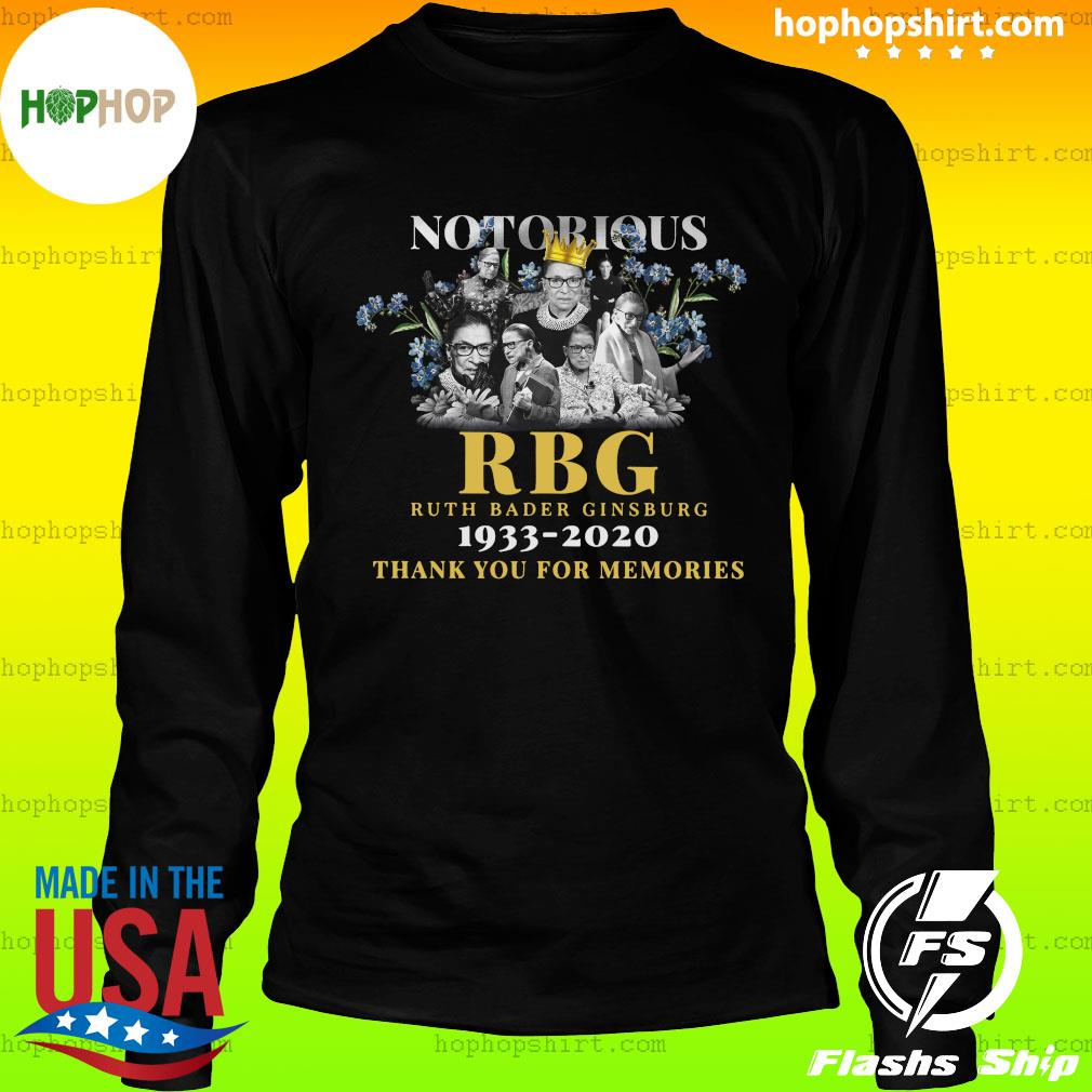 Notorious Rbg Ruth Bader Ginsburg 1933 2020 Thank You For The Memories Shirt LongSleeve
