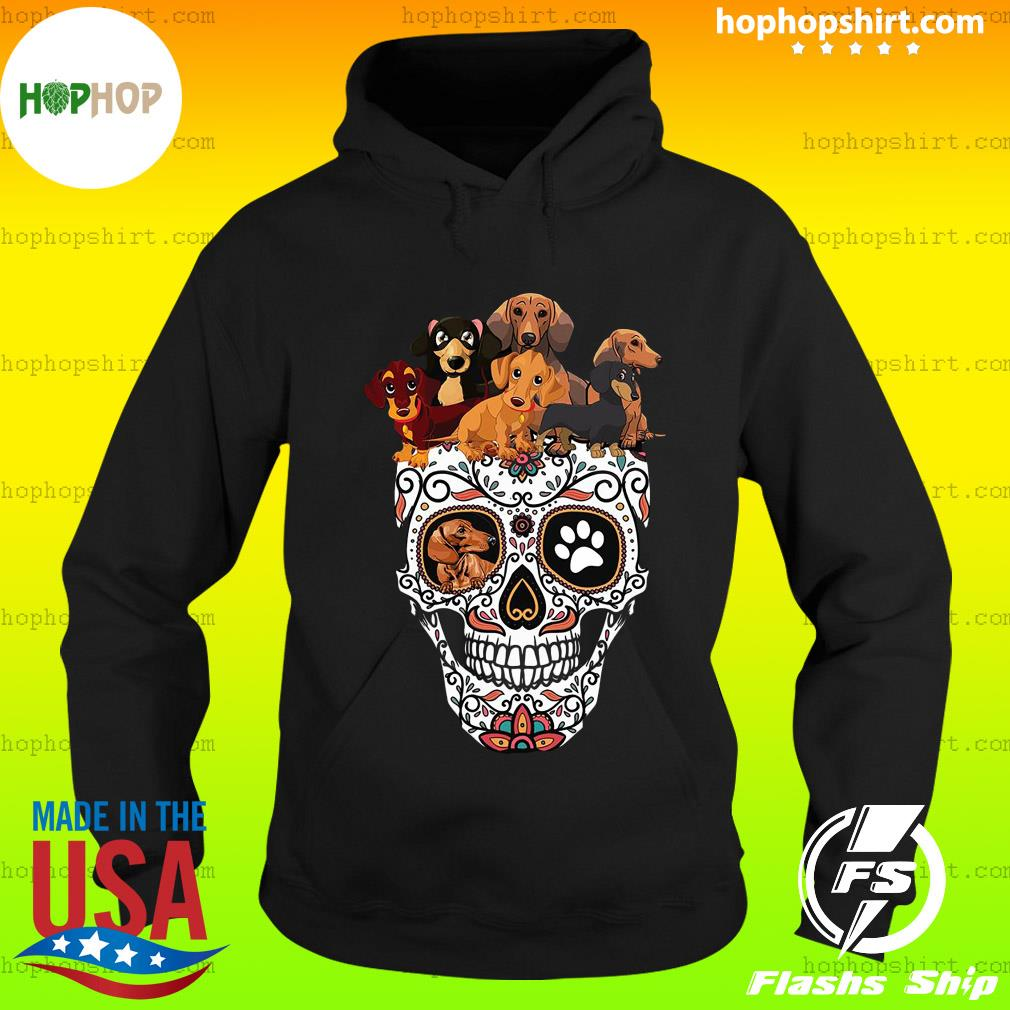 Sugar Skull And Retro Flowers Day Of The Dead Dachshund Halloween Shirt Hoodie