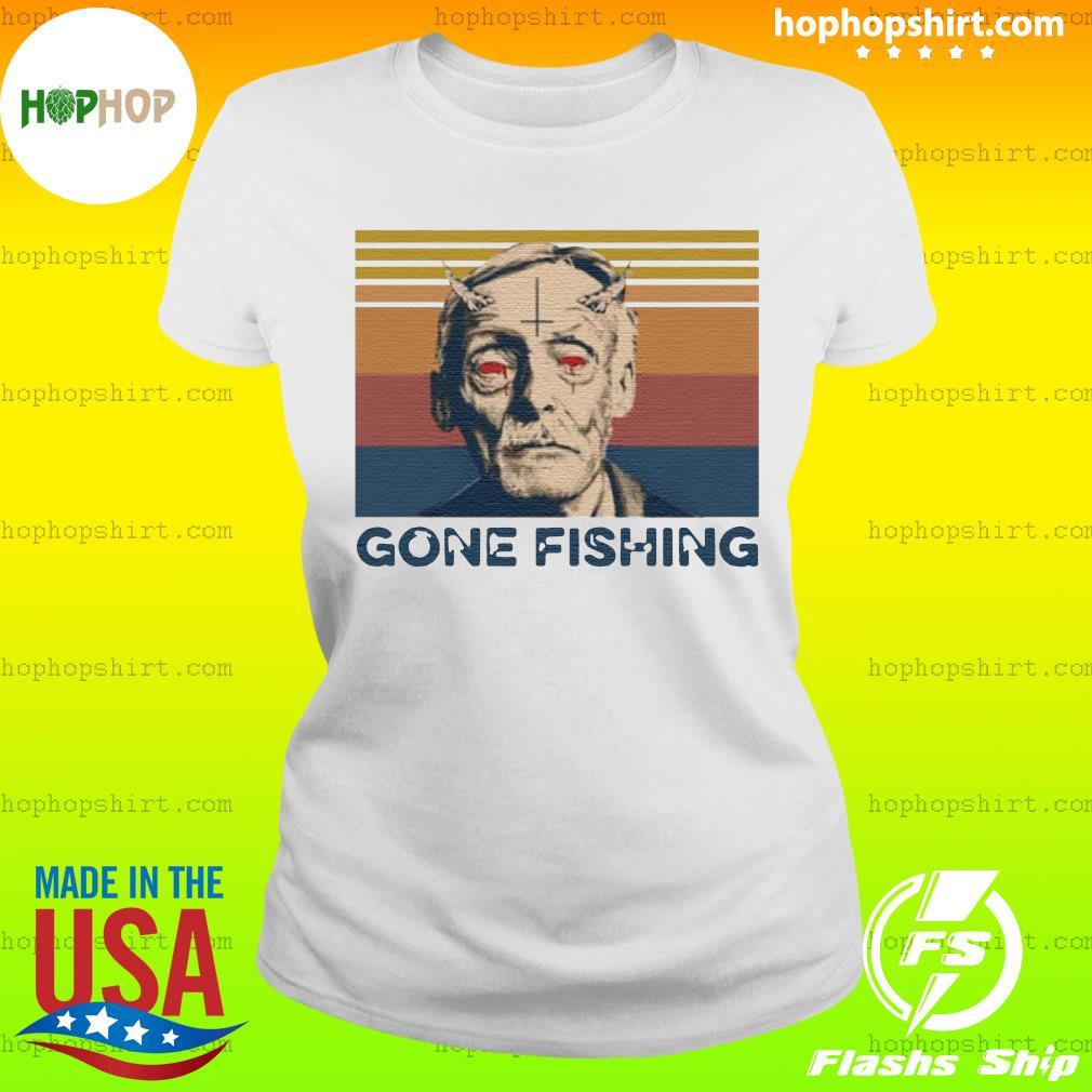 True Crime Gone Fishing Vintage Retro Shirt Ladies Tee