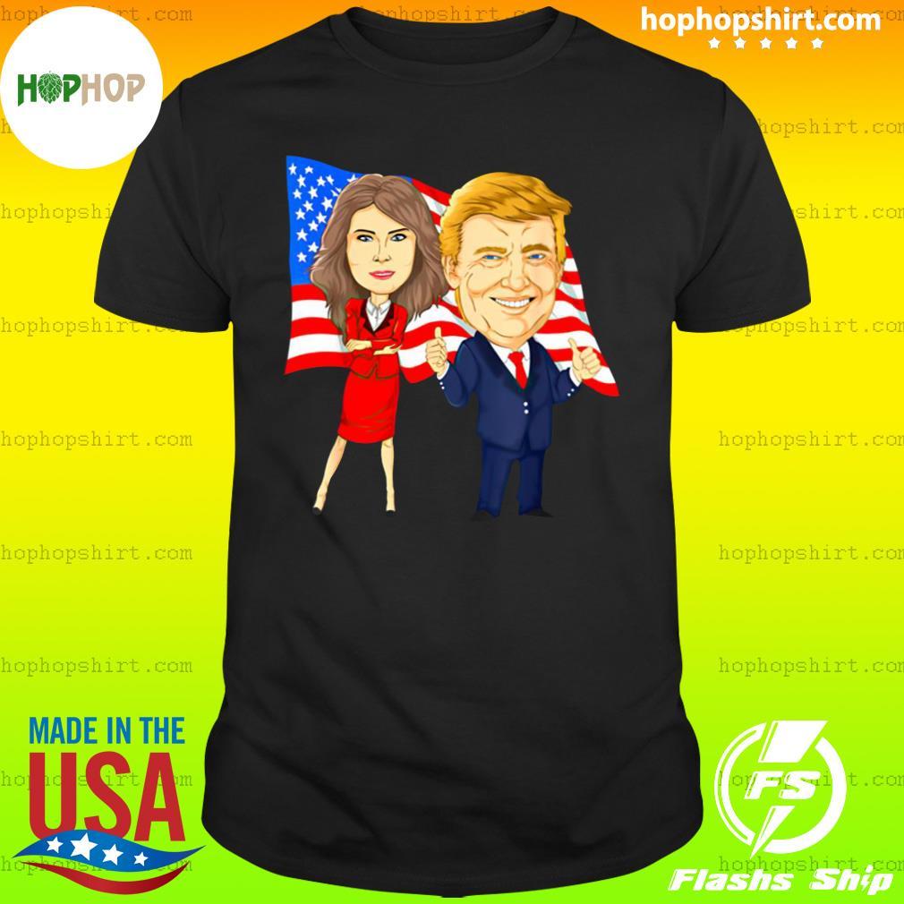 Official Donald Trump And Melania Trump Potus Flotus USA Flag Shirt