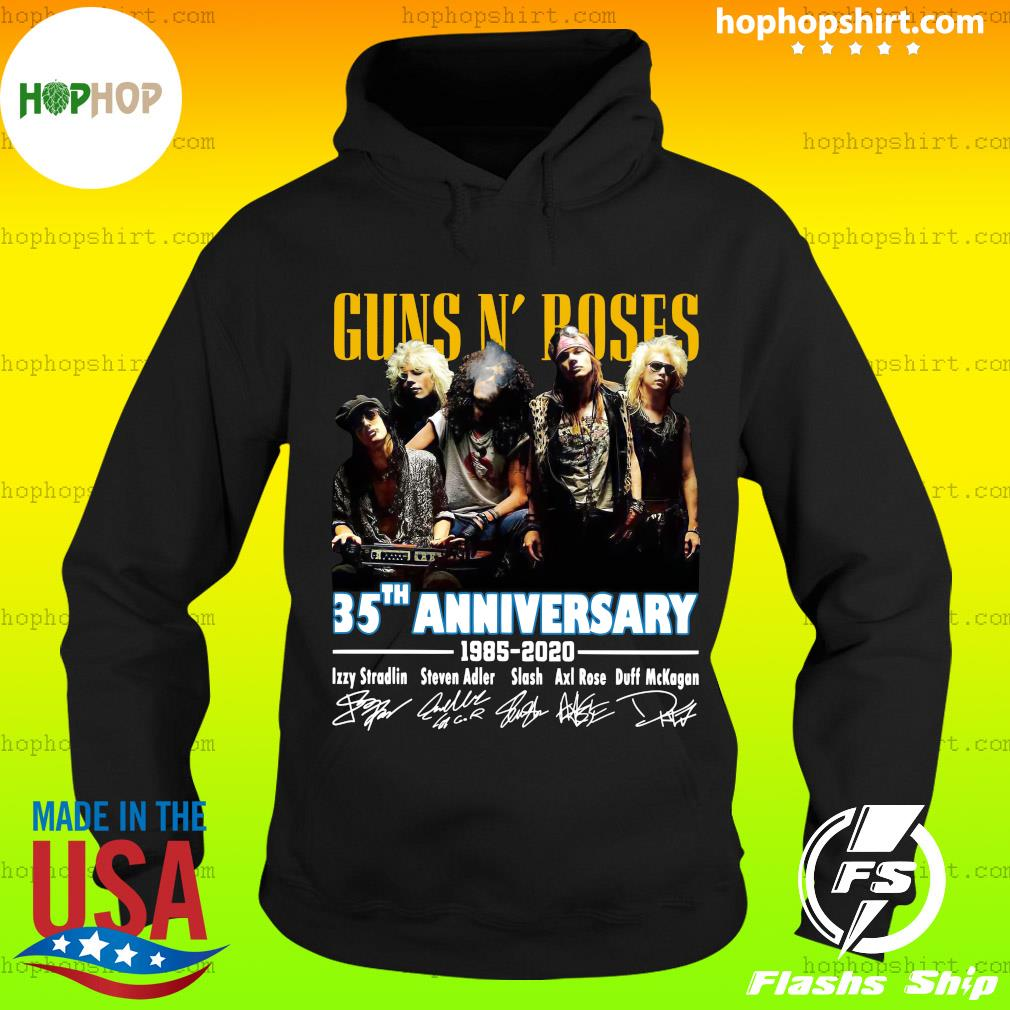 Official Guns N' Roses 35th Anniversary 1985 2020 Signatures Shirt Hoodie