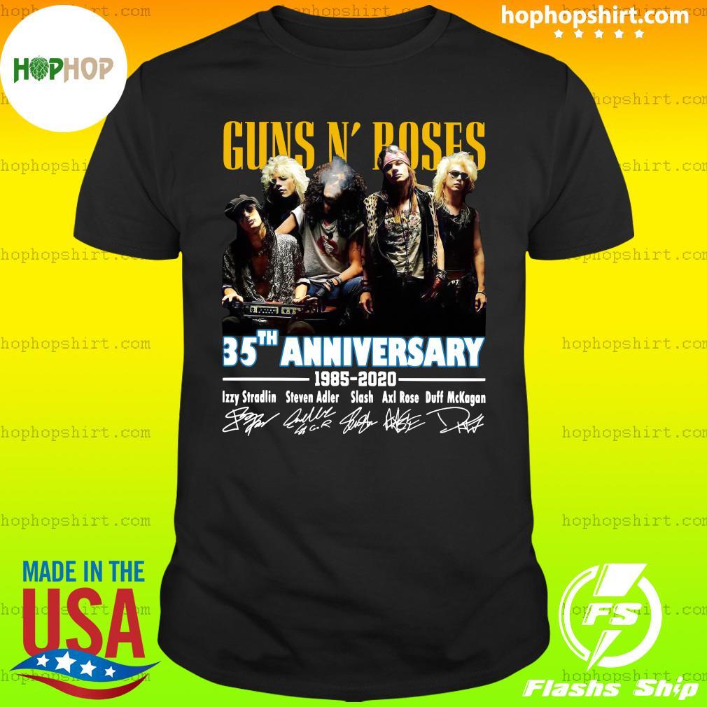 Official Guns N' Roses 35th Anniversary 1985 2020 Signatures Shirt