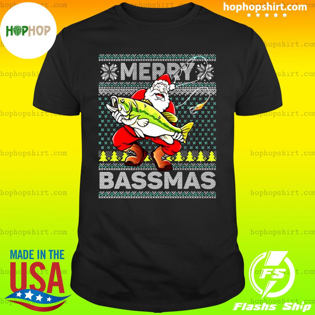 Official Merry Bassmas Fish Santa Christmas shirt