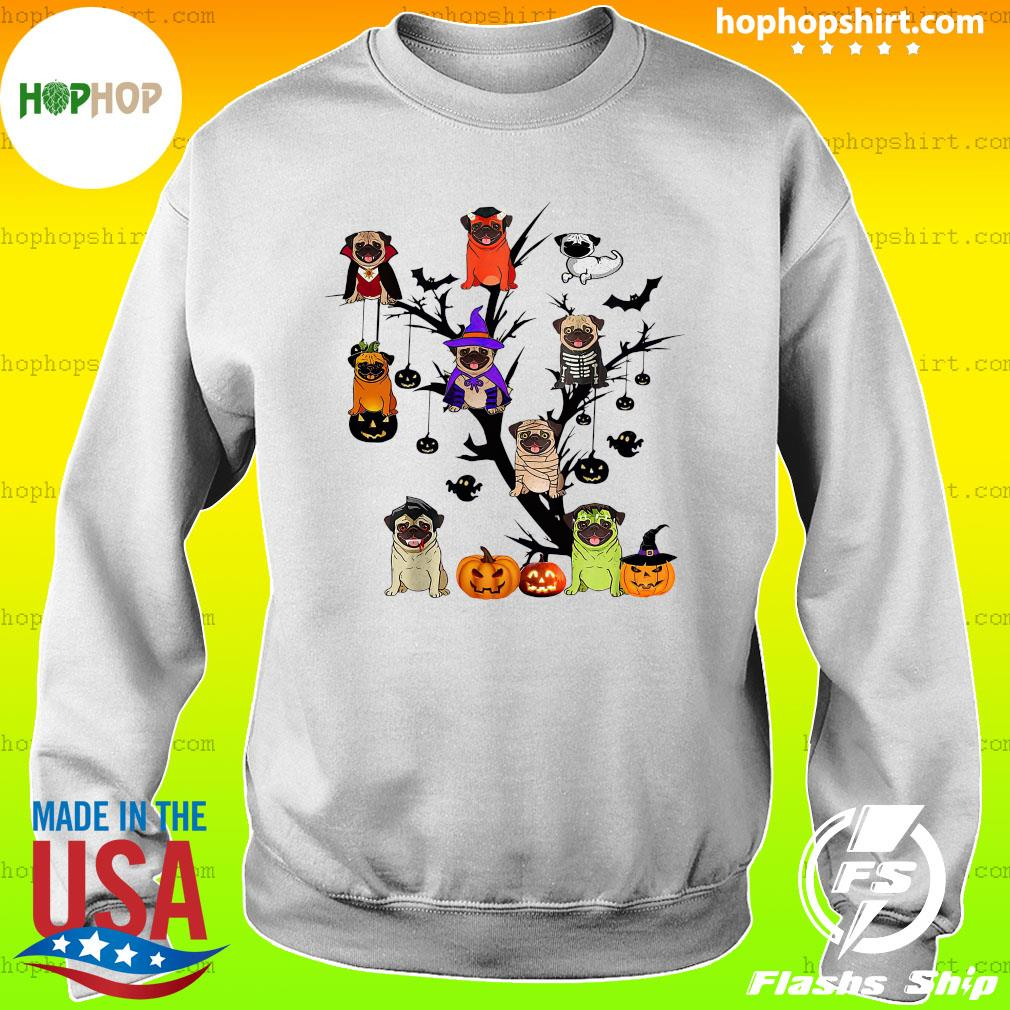 Pug Dog Halloween Tree Shirt Sweater