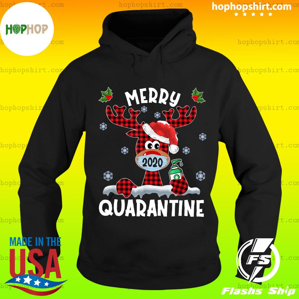 Reindeer Face Mask 2020 Merry Christmas Quarantine Sweats Hoodie