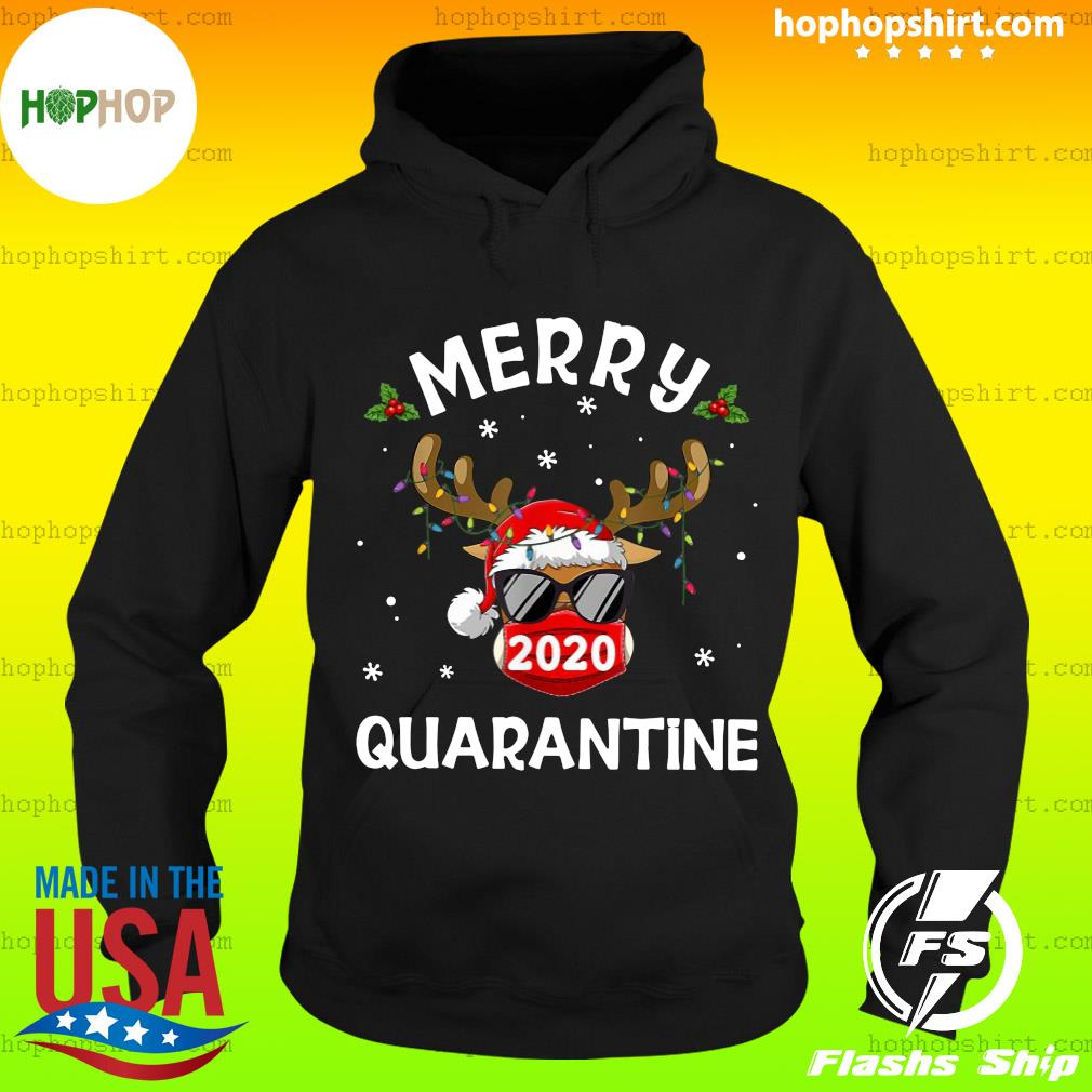 Reindeer Face Mask 2020 Quarantine Merry Christmas Sweats Hoodie