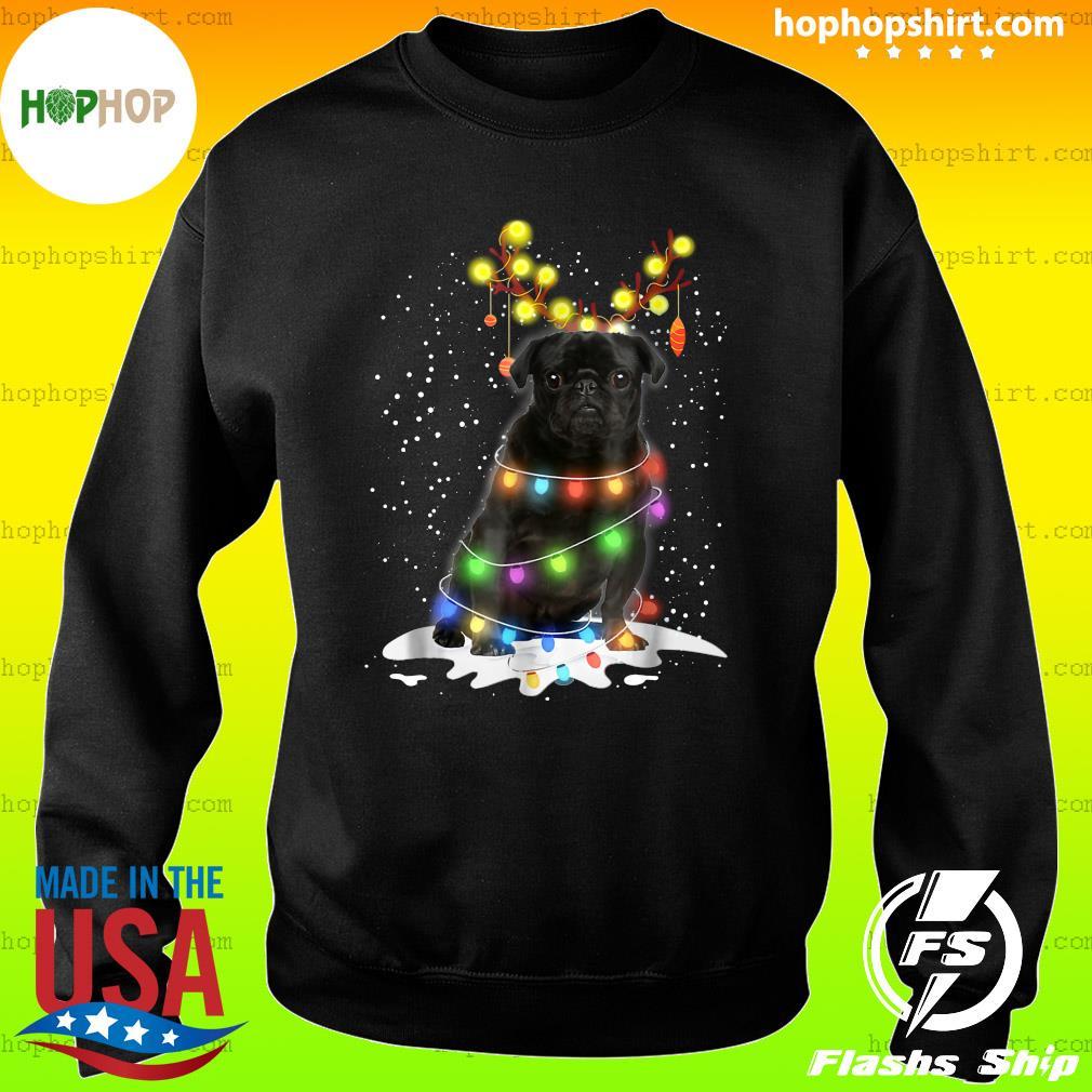 Black Pug Blinker Nice Dog Christmas Light Sweatshirt
