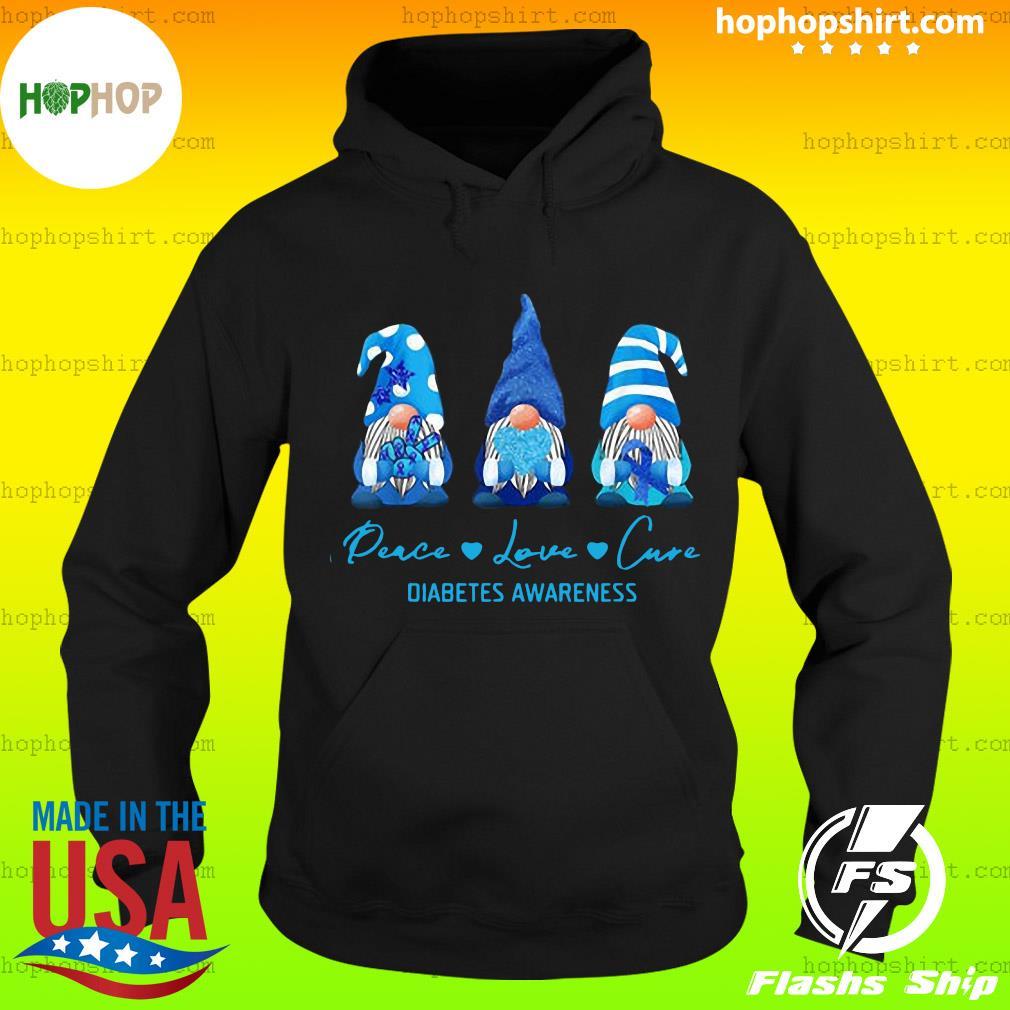 Gnome Peace Love Cure Diabetes Awareness Christmas Sweats Hoodie