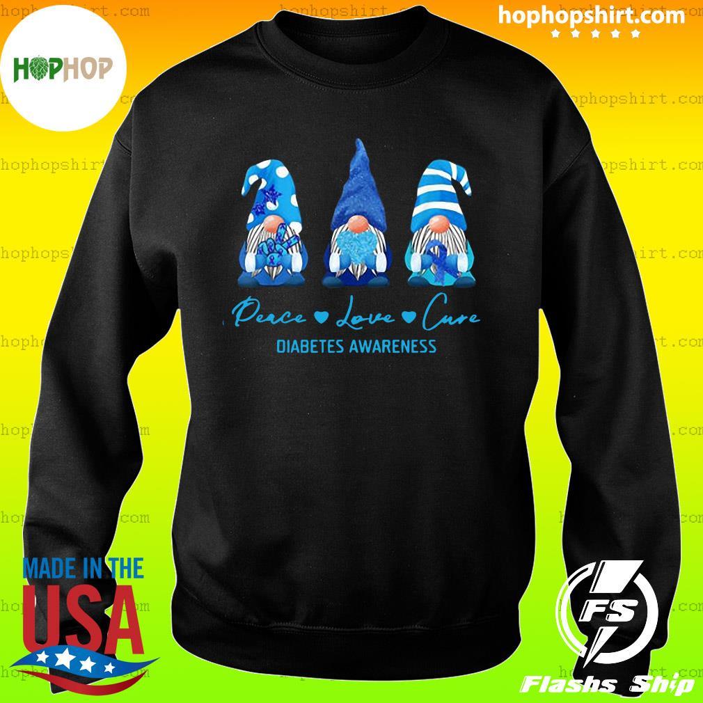 Gnome Peace Love Cure Diabetes Awareness Christmas Sweatshirt