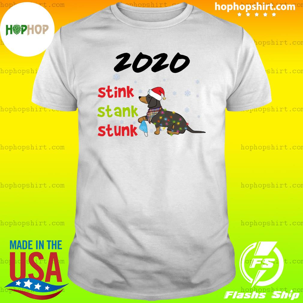 Santa Dachshund Holding Mask 2020 Stink Stank Stunk Merry Christmas Sweats Shirt