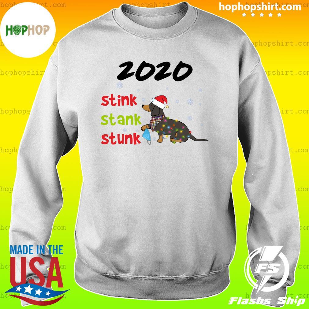 Santa Dachshund Holding Mask 2020 Stink Stank Stunk Merry Christmas Sweatshirt