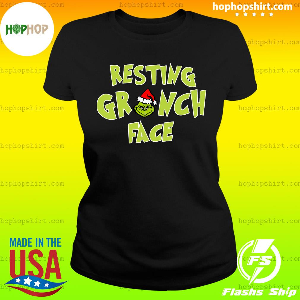 The Grinch Santa Resting Grinch Face Sweats Ladies Tee