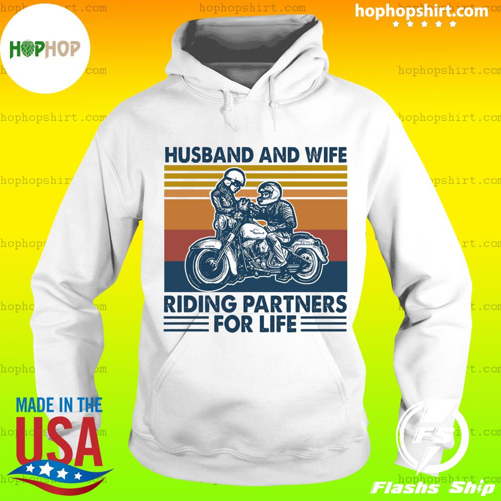 Husband And Wife Riding Partners For Life 2021 Vintage T-Shirt Hoodie