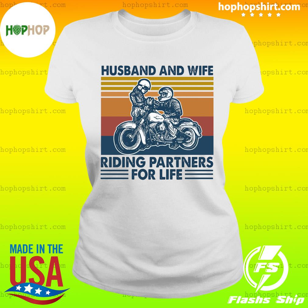 Husband And Wife Riding Partners For Life 2021 Vintage T-Shirt Ladies Tee