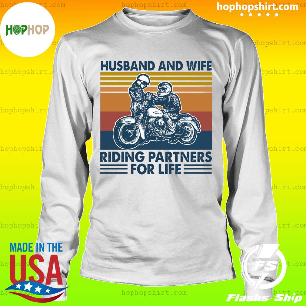 Husband And Wife Riding Partners For Life 2021 Vintage T-Shirt LongSleeve