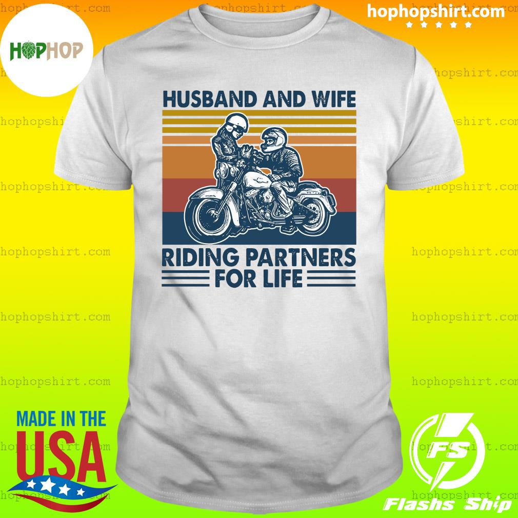Husband And Wife Riding Partners For Life 2021 Vintage T-Shirt