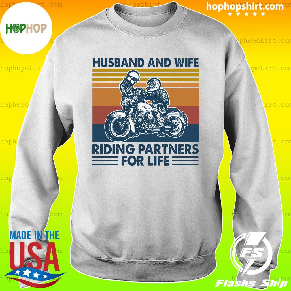 Husband And Wife Riding Partners For Life 2021 Vintage T-Shirt Sweater